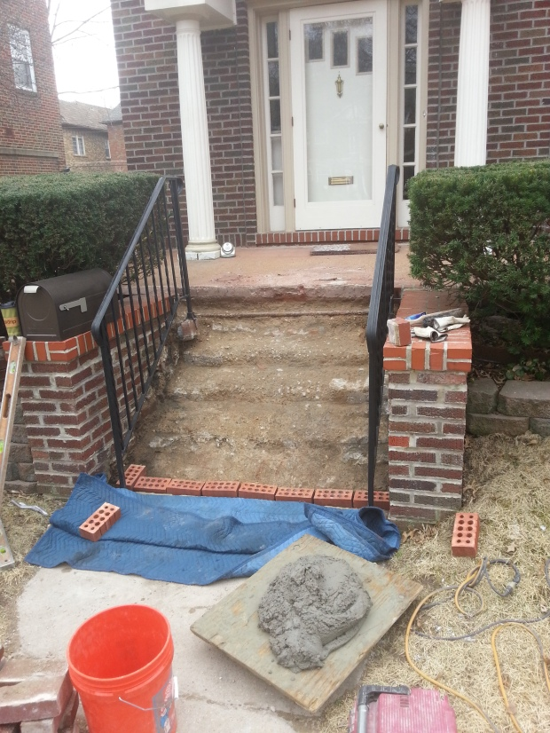 Brick steps being prepared for relay