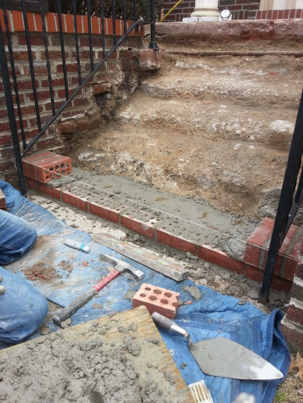 Brick Step stairs progress of work
