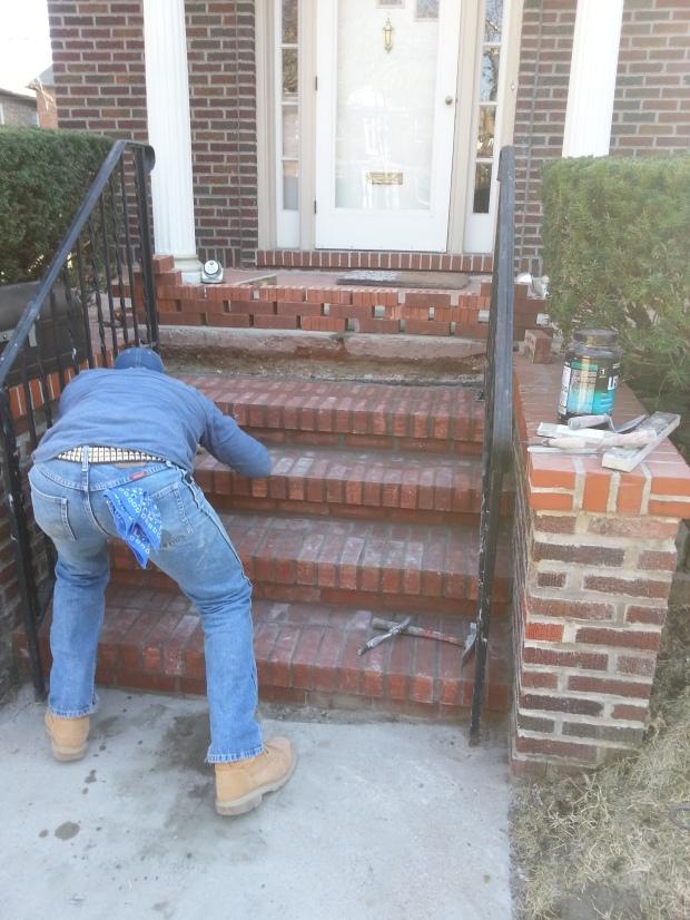 Brick Step stairs progress of work 8