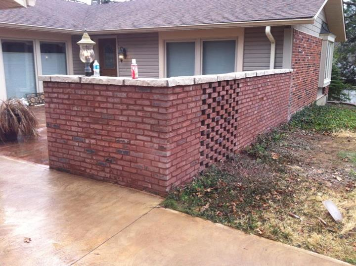 After Tuckpointing Decorative Brick Wall