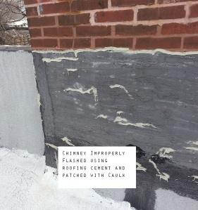 Bad flashing using roofing material