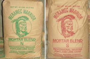 Pictured here is the most common types of mortar in premixed bags.