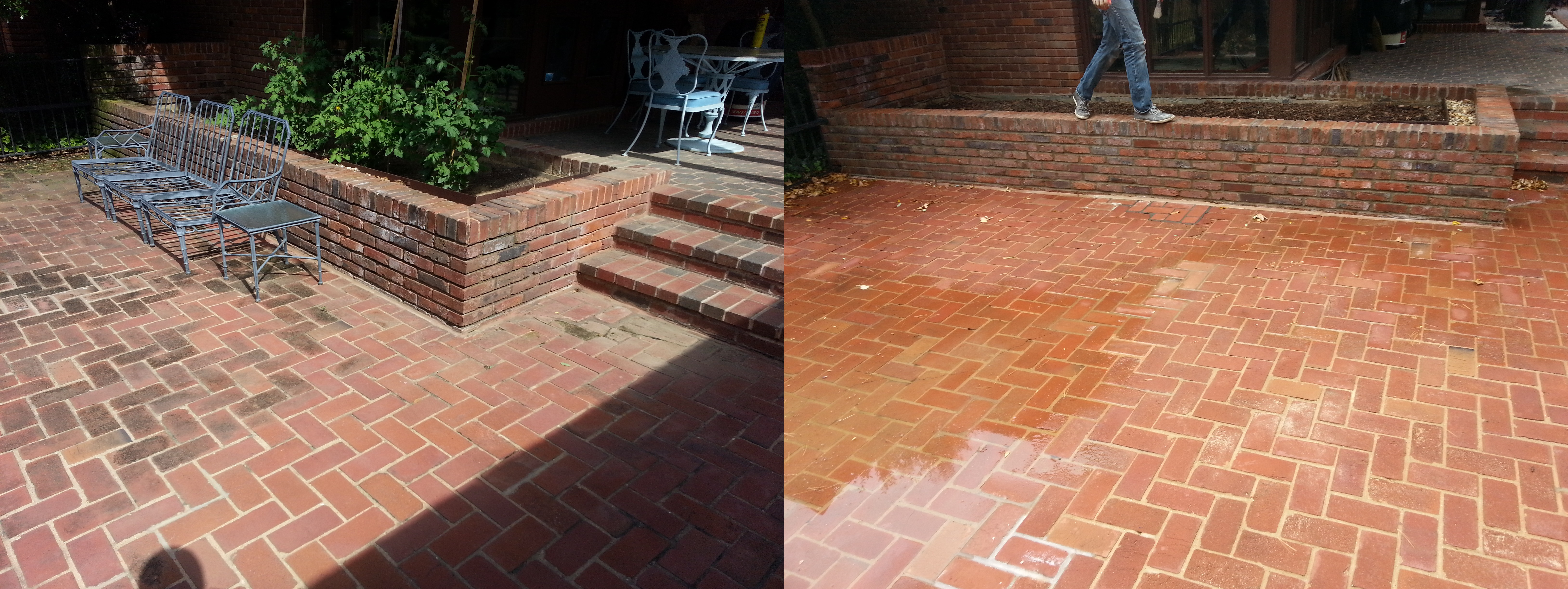Power Washed Brick Patio And Tuckpointing Brick Wall Before And After