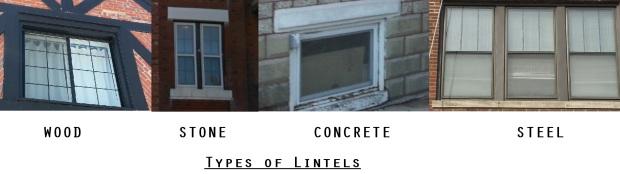 Steel wood concrete stone types of lintels